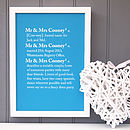 Personalised Couples Dictionary Print