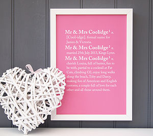 Personalised Couples Dictionary Print - 100 best wedding prints