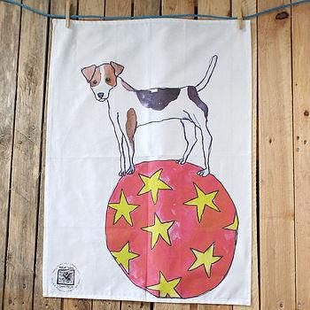 Beagle Dog Balancing On Ball Design Cotton Tea Towel
