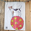 Beagle Dog Balancing On Ball Design Cotton Tea Towel