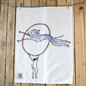 Dog And Hoop Design Tea Towel - kitchen