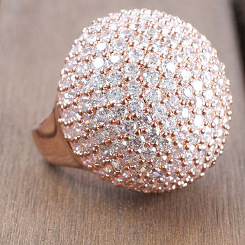 Rose Gold Diamante Statement Cocktail Ring