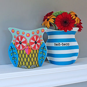 Handmade Fabric Owl Vase Cover - table decorations