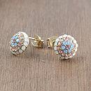 Pastel Crystal Cluster Stud Earrings