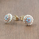 Pastel Crystal Cluster Stud Earrings