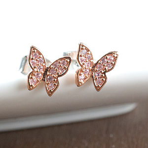 Diamante Butterflies Stud Earrings - earrings
