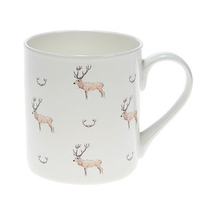 White Stag And Antlers China Mug