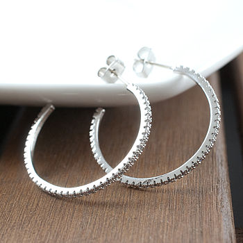 Diamante Silver Hoop Earrings
