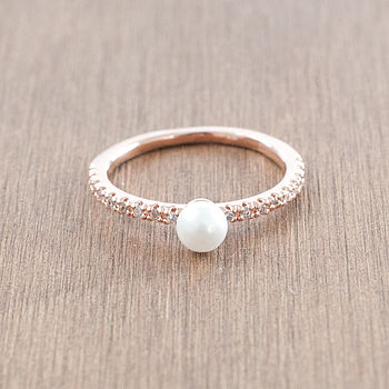 Pearl And Diamante Band Ring