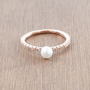 Pearl And Diamante Band Ring - rings