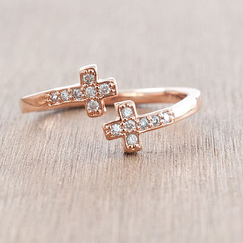 Double Cross And Diamante Ring