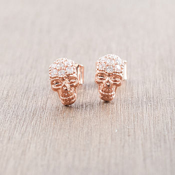 Rose Gold Skull Stud Earrings