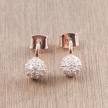 Rose Gold Disco Ball Diamante Earrings