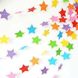 Rainbow Star Paper Garland - children's room