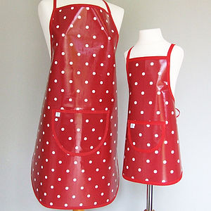 Red Spotty Oilcloth Apron - aprons