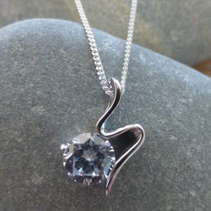 Silver Sliver Pendant With Cubic Zirconia - necklaces & pendants