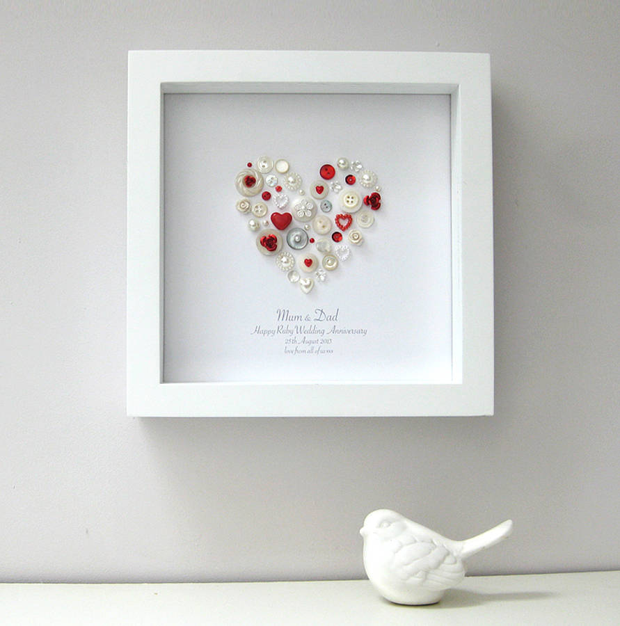 Personalised Ruby Anniversary Heart Artwork By Sweet