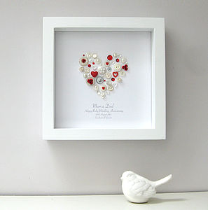Personalised Ruby Anniversary Heart Artwork - anniversary gifts