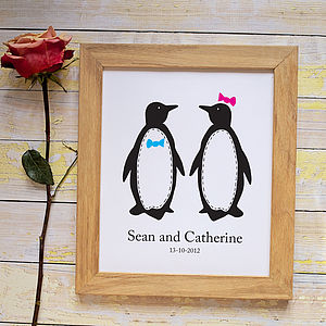 Personalised Penguin Pairs Print - art & pictures