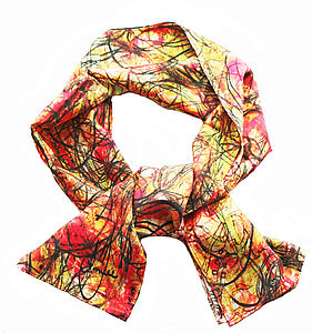 Hectic Lines Silk Scarf - scarves
