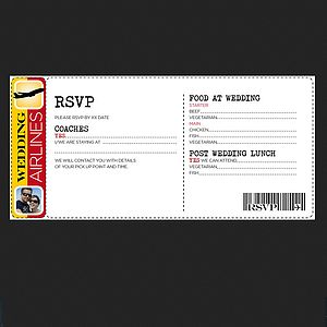 50 Boarding Pass Wedding Rsvp Card