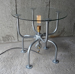 Industrial Spider Table With Light - side tables