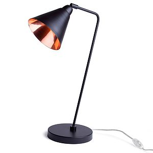 Black And Copper Table Lamp - metallics