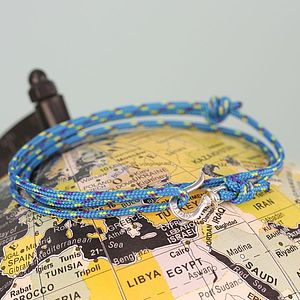Men's Cord And Swivel Hook Name Bracelet