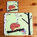 Happy Hedgehog Placemat And Coaster Set