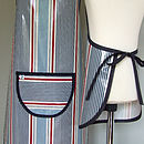 Back view of striped apron