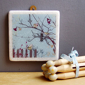 Birds At Feeder Decorative Marble Tile - gifts for grandmothers