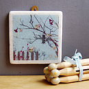Birds At Feeder Decorative Marble Tile