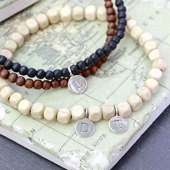 Personalised Men's Bead And Letter Bracelet