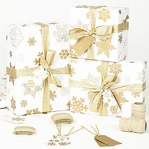 Gold Snowflakes White Wrapping Paper - ribbon & wrap