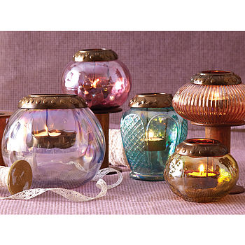 Colourful Glass Tealight Holders