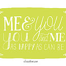 Me and you art print in Chartreuse