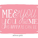 Me and you art print in Salmon pink