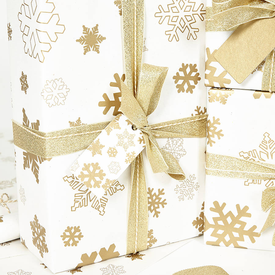 gold snowflakes white wrapping paper by sophia victoria. Black Bedroom Furniture Sets. Home Design Ideas