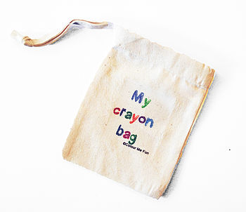 Small Cotton Drawstring Crayon Bag