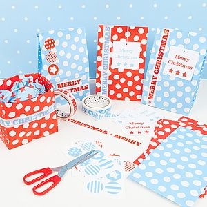 Christmas Paper Bag Wrap Kits - ribbon & wrap