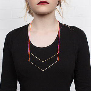 Gold Necklaces Chevron, Assorted Colours