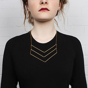 Gold Necklace, Chevron Trio - contemporary jewellery