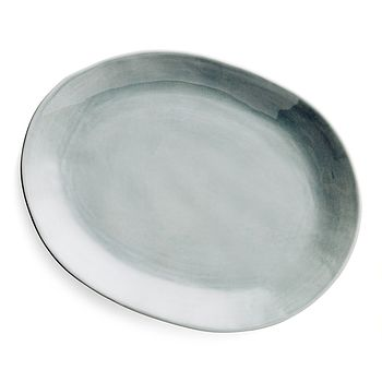 Blue grey oval stoneware platter