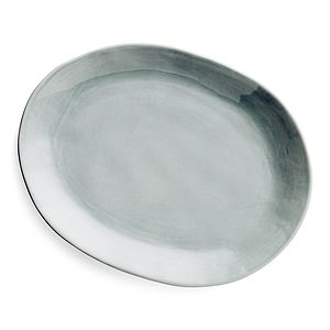 Oval Stoneware Grey Serving Platter - serving dishes