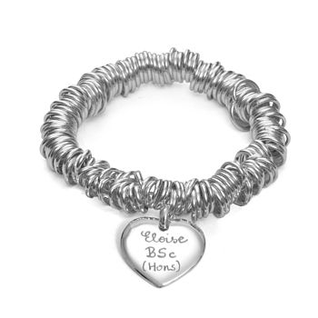 Graduation Personalised Silver Coil Bracelet