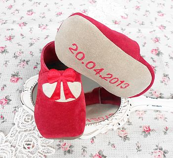 Personalised Suede Bow Baby Shoes