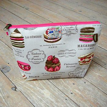 French Patisserie Macaron Cosmetic Toiletry Washbag Large