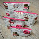 French Patisserie Macaron Cosmetic Toiletry Washbag All Sizes