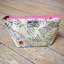 Postcard Airmail Cosmetic Toiletry Washbag Small