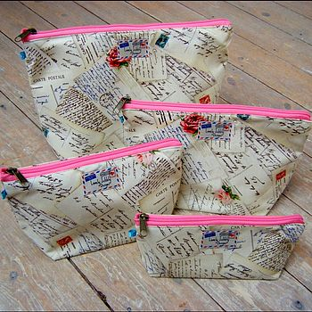Postcard Airmail Cosmetic Toiletry Washbag All Sizes